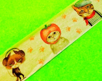 Fancy Dress Cats Costumed Kittens 25mm Wide Masking Paper Washi Tape Color Kitschy Cute Animal Stickers Original Paper Brand 2.5cm