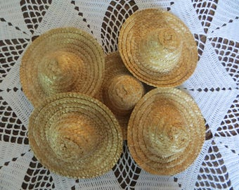 """Doll hats,straw hats,woven,doll supplies,SET OF 5 hats,4"""""""