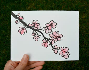 Hand Drawn Card (Handmade), Cherry Blossom Card, Flower Card, Cherry Blossom Stationery, Flower Stationery
