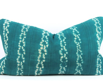 "Green Shibori Mudcloth Pillow   Shibori Tie Dye African Mud Cloth Pillow   Green Mudcloth Lumbar Pillow   14"" x 24"" Lumbar Pillow"