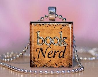 BOOK NERD Book Lover Scrabble Jewelry.  Book Nerd Gift. Book Lover Necklace. Book Lover Pendant Charm Bracelet.  Teacher Gift. #127