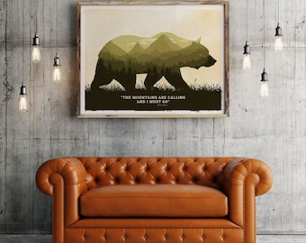 Grizzly bear poster, Grizzly bear art print, Grizzly poster, Grizzly bear art, american wild life art, National park Grizzly , Grizzly print