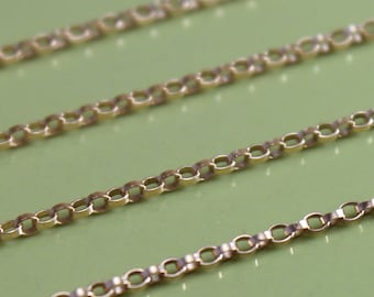 Gold Filled  Chain by the Foot - Petite Rolo Chain 1.2mm- Select Lengths 1 to 3 feet