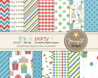 Birthday Party Digital Papers for Digi-Scrapping, Boys Birthday, Cards, Invitations, Labels, Cake Toppers etc