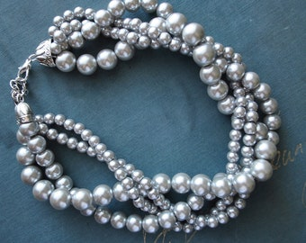 Light Grey Chunky Pearl Twist -4 Strand- Pearl Twisted Statement Necklace