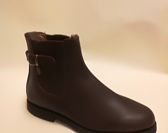 brown leather jodhpur style ankle boot