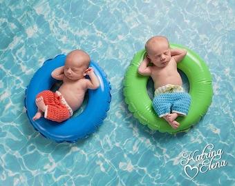 Twin Surf Shorts/ Newborn Surfer Prop/ Newborn Beach Baby Prop/ Twin Newborn Prop/ Nautical Theme Nursery/ Summer Newborn Prop