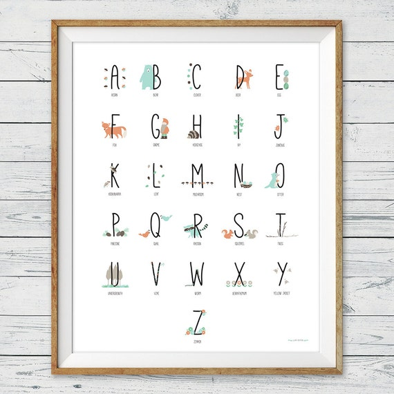 abc letters for wall woodland alphabet poster abc poster woodland nursery wall 16688
