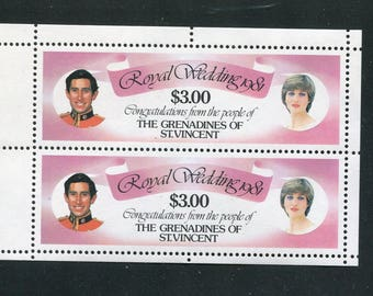 Princess Diana Royal Wedding Souvenir Sheet /Unused Issued inThe Grenadines of St. Vincent