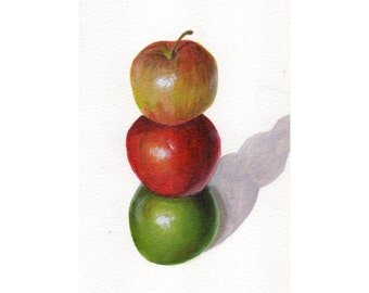 Apple Art, Acrylic Painting Minimalist Still Life of Three Apples, Original Food Art for Kitchen Decor