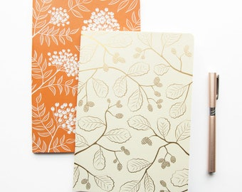 Two A5 Notebooks with Gold Foil and Orange Nature Pattern - Eco Friendly Notebooks - Travel Journal set of Two - Luxury Floral Pattern