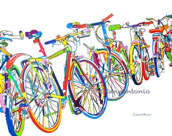Bike Frenzy, bicycle art print by Susan Giannantonio