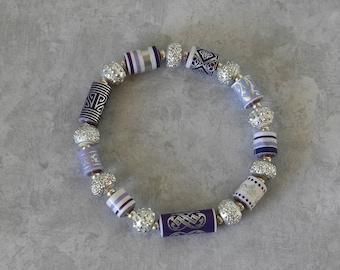 Handmade Paper Bead Bracelet - Disco Ball