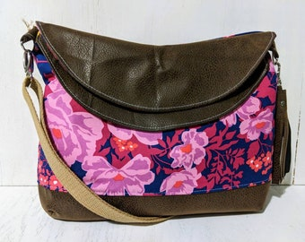 Floral Print Crossbody Accented with Brown Faux Suede