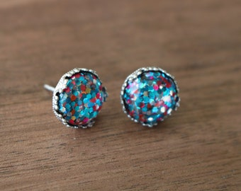 Stud Earrings Confetti with 12mm Stainless Steel Crown Setting
