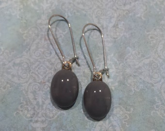 Gray Earrings, Kidney Wire Earrings, Dark Grey Drop, Modern Fused Glass Jewelry - Gracie - -5