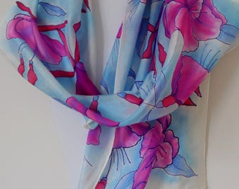 Hand painted floral silk scarf featuring fuschias in bright pink, purple and red on a light blue background. OOAK Unique  Gift for her