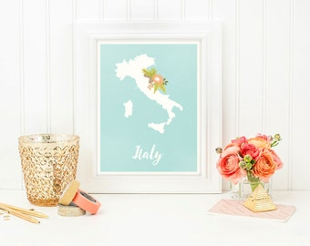 Italy printable, Watercolor print, Italy print, Map, Italy gift, Italy wall art, Map of Italy, Letter print, Map poster, Digital print, Sign