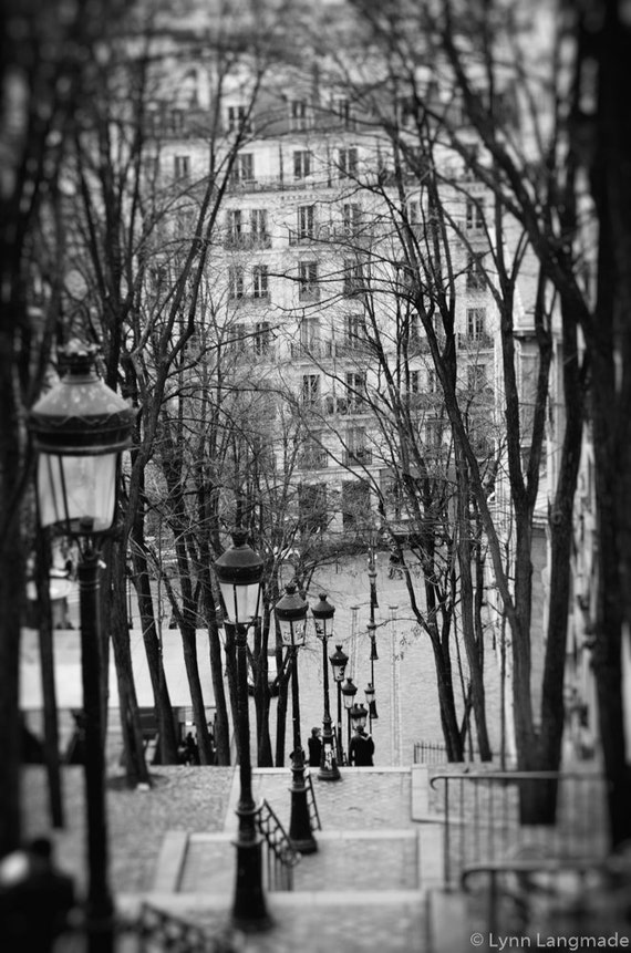 Paris black and white steps montmartre paris 8x10 prints