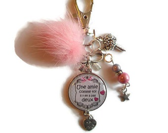 """Bag charm, door keys/friend/girlfriend/NANA / """"a friend like you there are no two"""" / gift / birthday / party thank you"""
