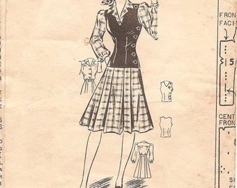 1940s Shirtwaist Dress Pattern - Vintage Mail Order 2559 - Bust 30 WW2 Era with Large Puff Sleeves