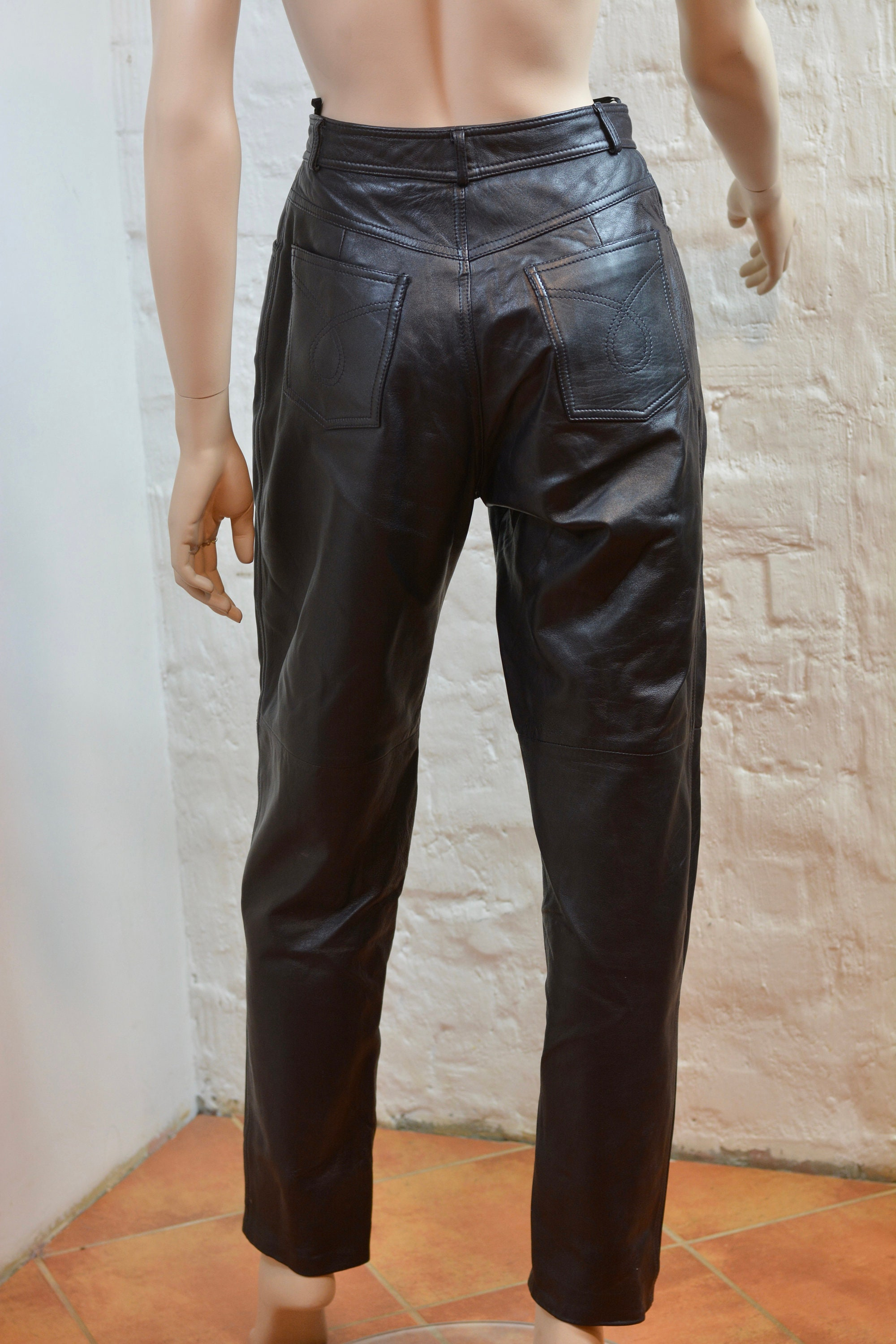 Vintage Biker Leather Pants Genuine Leather Pants Trousers Black Leather Pants Motorcycle Pants Rockstar Leather Fetish Small .