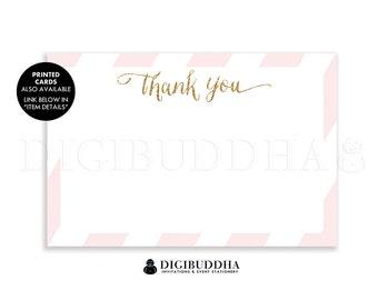 Blush Pink & Gold Glitter Thank You Card INSTANT DOWNLOAD 4x6 Flat Pink Stripe Gatsby Glam Birthday Bridal Shower DIY Printable - Stella