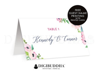 Floral Place Cards Custom Wedding Cards Folded or Flat Reception Place Cards Floral Table Place Cards Custom DIY or Printed - Kennedy