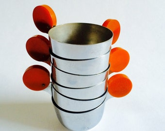 Butterscotch Bakelite-Handled Punch Cups, Set of Six, Art Deco Period