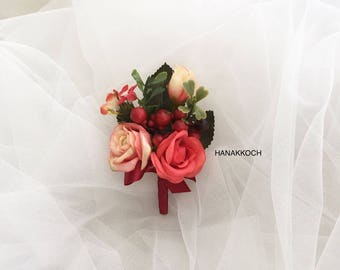 Boutonniere / Buttonhole / Corsage / Groom's Accessories / Groomsmen / Red Rose / Wedding Boutonniere / Christmas Party
