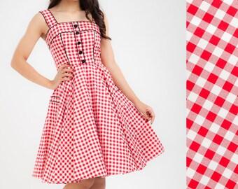 Red Gingham Dress Summer Dress Beach Dress Sun Dress Birthday Dress Rockabilly Dress Pinup Dress Retro Dress Plus Size Dress 50s Party Dress