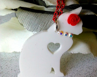 LOVE CAT in WHITE and Red Couture Pendant Necklace