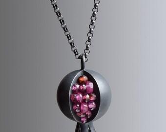 Pomegranate Necklace - Pomegranate Pendant - Pomegranate Jewelry - Silver Pomegranate - TINY Pomegranate Pendant - Garnet Ruby Necklace