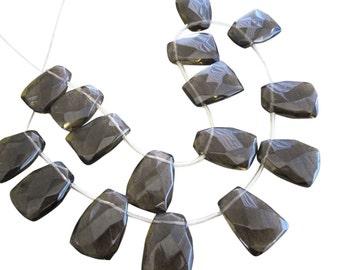 Smokey Quartz Beads, Faceted Briolettes, 18mm x 25mm, SKU 3348