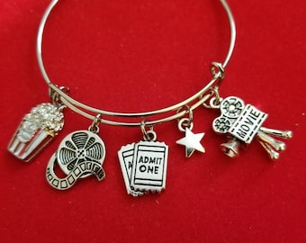 Silver Movie Buff Themed Charm Bracelet