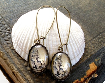 Antique Deep Sea Diver Earrings in Brass  - Diving Dangle Earrings