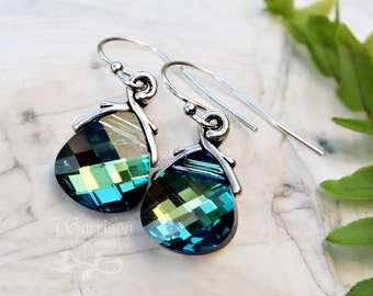 Aqua Sahara briolette earrings, sterling silver hooks - blue & olive green color changing crystals - free shipping in the USA