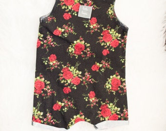 12-18 month red and green floral on black pull on summer romper. Ready to ship. Little Lapsi