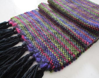 "Merino wool Scarf loom hand woven scarf Colorful multicolor ""Circus"" OOAK"