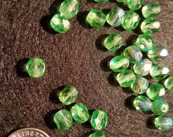 50 6mm Dark Peridot Green AB Czech Glass Firepolish Beads