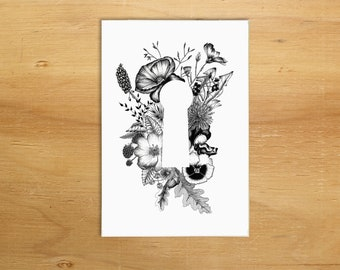 Botanical Keyhole illustration A6 greeting card