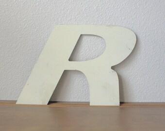 Vintage Industral text signage letter R aluminum