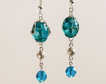 Dangle earrings blue Indian wire wrapped teal glass beads handmade