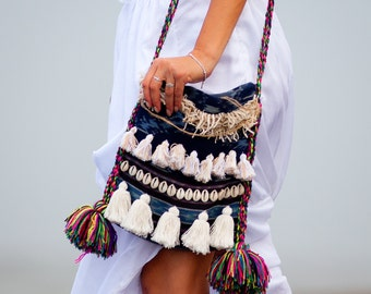 Marrakech Bilum Bag, BOHO Tassel Bag, Handmade Unique Shaggy Hip Bag, Bilum Bag with Shells, Hessian, Tassels, Ikat Fabric