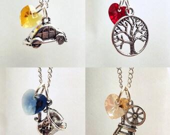 Emma, Regina, Belle, Rumpelstiltskin Once Upon A Time Character Necklaces