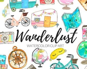 Watercolor clip art - Travel clip art - wanderlust clip art - vacation clip art - Commercial use