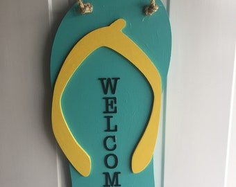 Flip flop welcome sign, flip flop door hanging