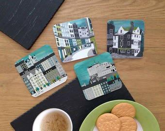 Edinburgh Coasters / Gift For Travellers / Cork Coasters / Drinks Coasters / Edinburgh Castle / Edinburgh Gift / Castle Gift / Wanderlust