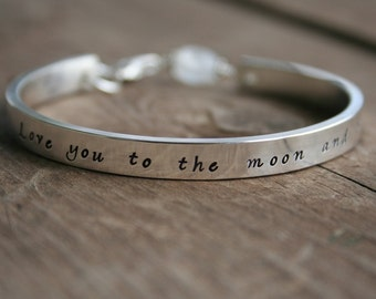 I Love You To the Moon and Back Jewelry - Sterling Hand Stamped Cuff Bracelet with Moonstone