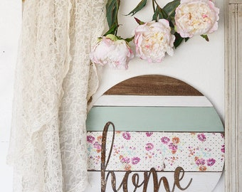"20"" Floral Home Barnwood Round Sign Home Decor Farmhouse Decor Sign"